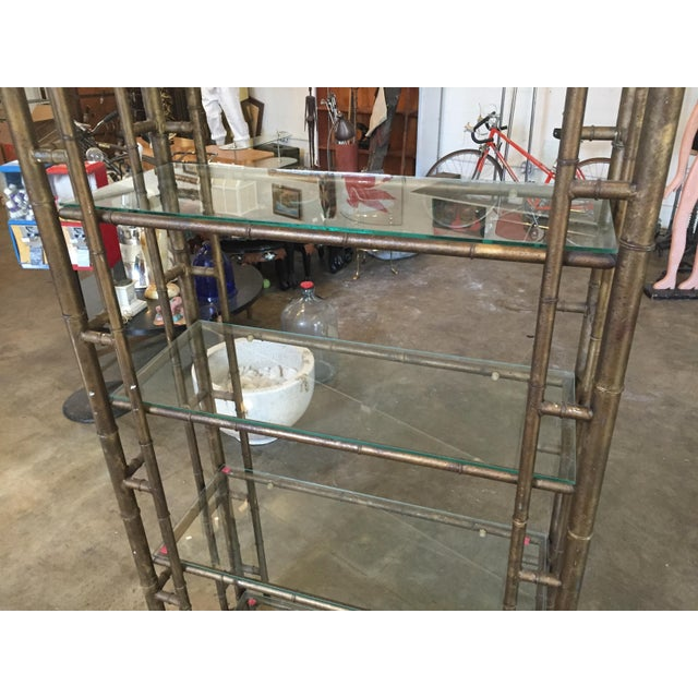 60s Vintage Hollywood Regency Faux Bamboo Bronze Patina Etagere - Image 8 of 9