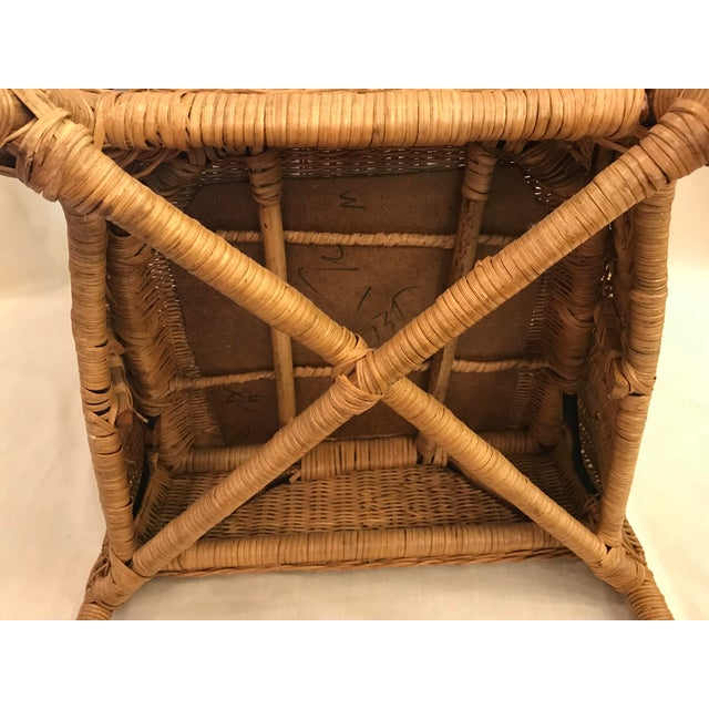 Late 20th Century Vintage Barrel Back Natural Wicker Chair For Sale - Image 11 of 13