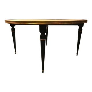Ebonized Hollywood Regency Coffee Cocktail or Low Table with Leather Top