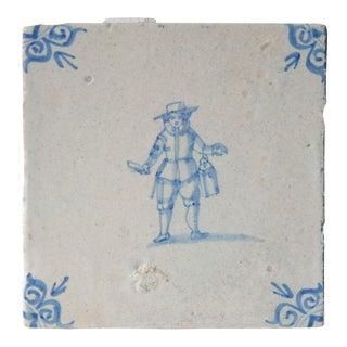 17th Century Antique Delft Blue White Porcelain Tile For Sale