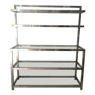 1970's Step Back Polished Aluminum Shelf For Sale
