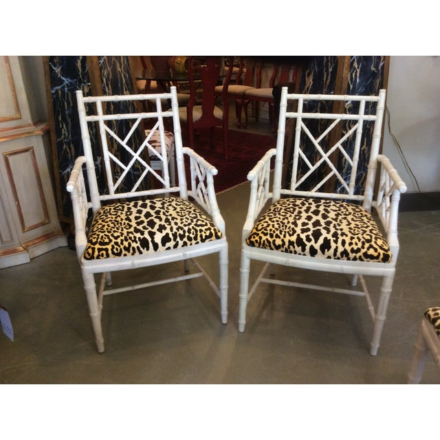 Faux Bamboo Dining Chair - Set of 4 For Sale - Image 12 of 13