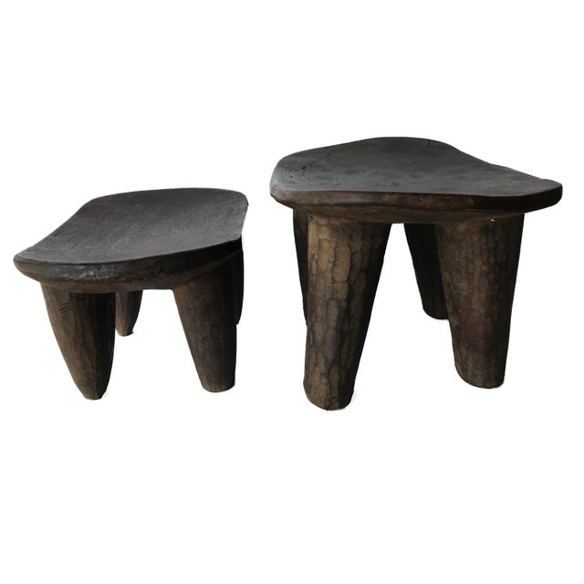 1970s African Senufo Wood Milk Stool I . Coast S/ 2 For Sale - Image 5 of 9