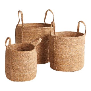 Seagrass Round Baskets With Long Handles from Kenneth Ludwig Chicago - Set of 3 For Sale