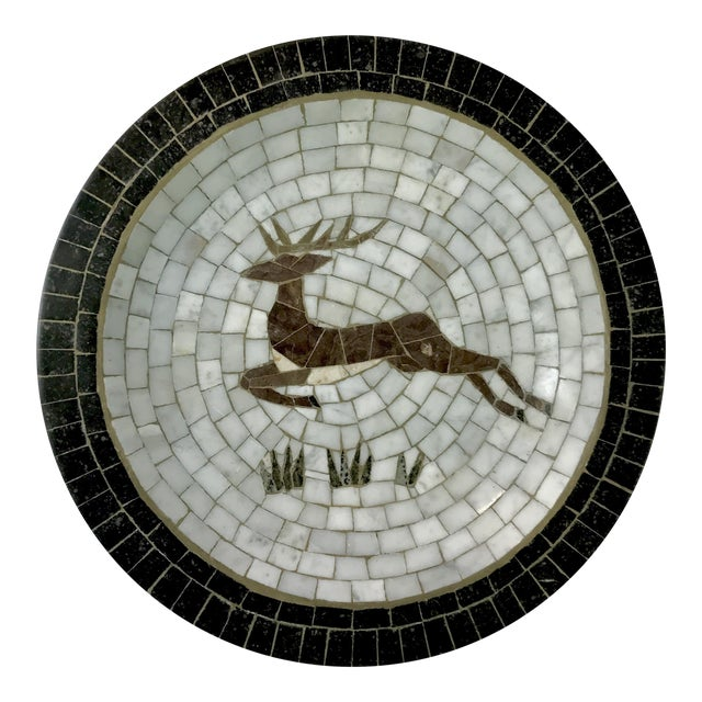 Mid-Century Danish Mosaic Plate With Leaping Reindeer Deer or Stag by Signed Heide of Denmark For Sale