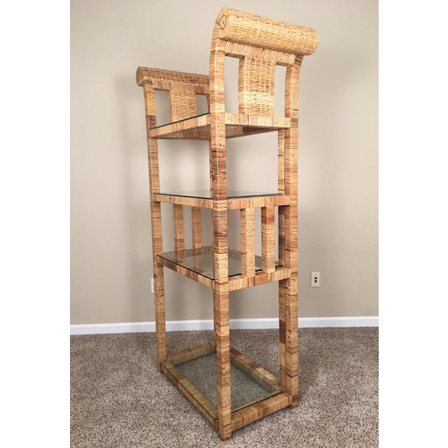 Billy Baldwin Style Lacquered Wrapped Rattan Etagere - Image 5 of 10