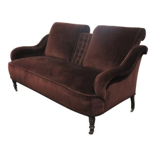 Victorian Brown Velvet Settee For Sale