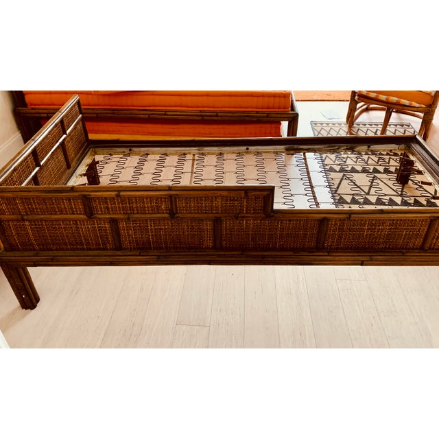 Asian Chinese Natural Bamboo and Woven Rattan Bahama Trundle Beds - a Pair For Sale - Image 3 of 8