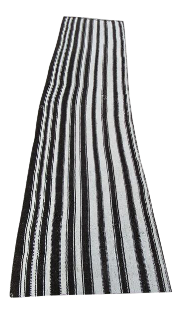 Vertical Black White Striped Kilim Runner Rug 2 3 X 9 10 Chairish