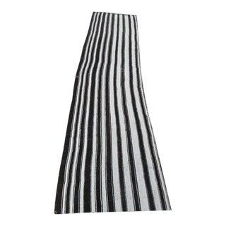 """Vertical Black White Striped Kilim Runner Rug - 2'3"""" x 9'10"""""""