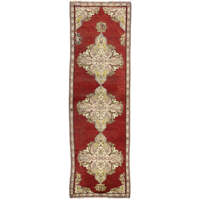 Textile Early 20th Century Antique Turkish Oushak Hallway Runner Rug - 03'04 × 10′07 For Sale - Image 7 of 7