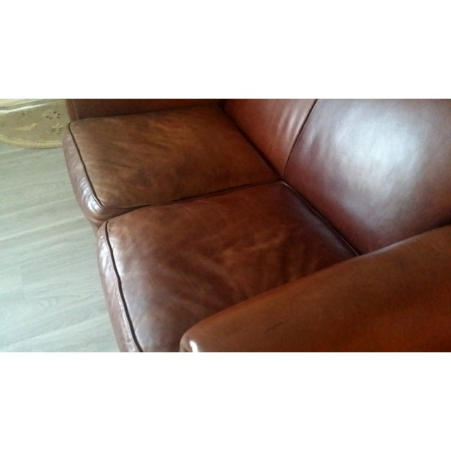 """Contemporary Restoration Hardware """"Parisian"""" Leather Sofa For Sale - Image 3 of 6"""