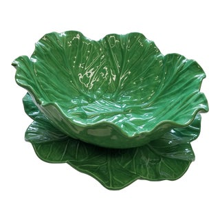 Large Majolica Green Leaf Serving Bowl and Platter - 2 Pc. Set For Sale