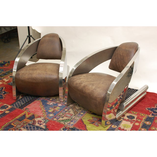 Timothy Oulton Aviator Style Chairs - Pair - Image 6 of 8