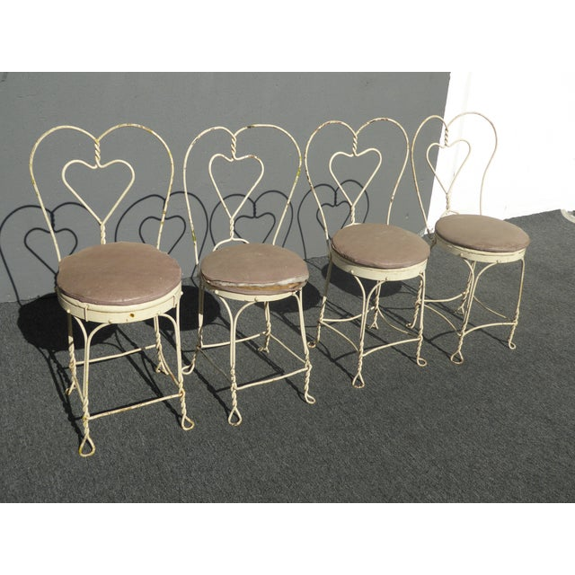 Vintage Farmhouse Industrial White Iron Table & Four Heart Shaped Chairs Set For Sale - Image 4 of 12