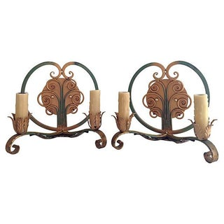 1940s French Iron Sconces - a Pair