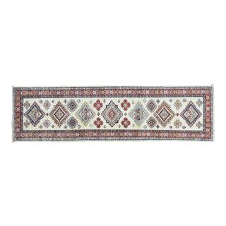 Hand-Knotted Ivory Kazak Runner- 2′8″ × 9′8″ For Sale