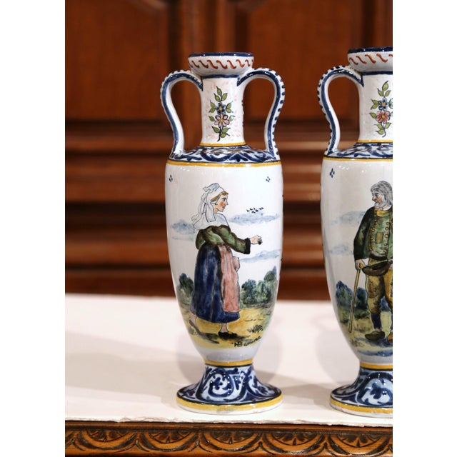 Blue 19th Century French Hand-Painted Brittany Vases Signed HB Quimper - a Pair For Sale - Image 8 of 13