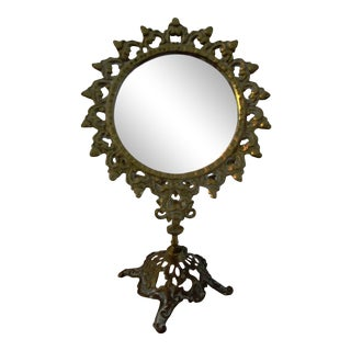Mid-Century Brass Adjustable Vanity Mirror For Sale