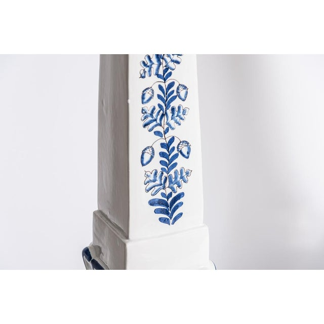 Italian Glazed Terra Cotta Blue & White Elephant Obelisks, A-Pair For Sale In West Palm - Image 6 of 12