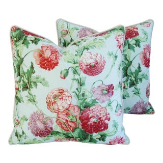 "Designer Brunschwig & Fils Poppies Pillows 24"" Square - Pair"