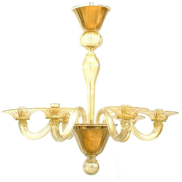"""Murano 1990s Italian Murano """"Soffiati"""" Gold Dusted Glass Chandeliers For Sale - Image 4 of 5"""