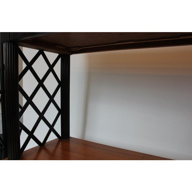1940s Vintage Lattice Side and Reeded Leg Mahogany Console Table For Sale In New York - Image 6 of 7
