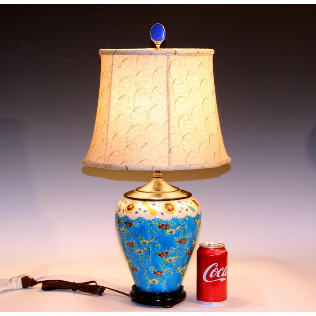 Old Antique Japanese French Pottery Longwy Turquoise Studio Lamp For Sale - Image 9 of 10