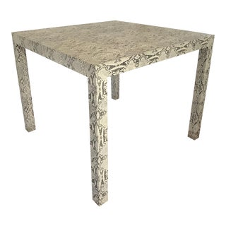Custom Python Snakeskin Print Center or Dining Parsons Table For Sale