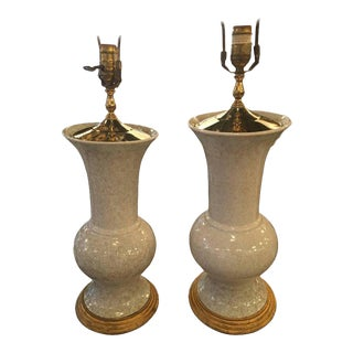 Crackle Glaze Ceramic Pagoda Brass Table Lamps - a Pair For Sale
