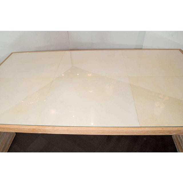 Monumental Limed Oak Coffee Table With Parchment Top For Sale In New York - Image 6 of 8