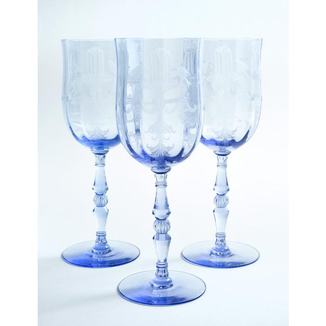 Vintage Etched Crystal Wine / Water Glassware Set For Sale In New York - Image 6 of 13