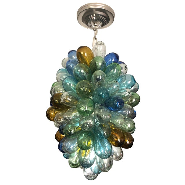 Colorful Balloon Shape Handblown Glass Light Fixture For Sale - Image 9 of 9