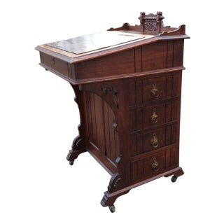 Antique Victorian Davenport Captain's Writing Desk