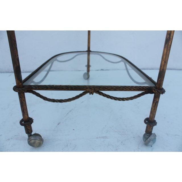 Italian Hollywood Regency Gilt Metal Bar Cart - Image 6 of 9