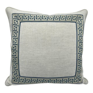 Custom Natural Linen With Teal and White Greek Key Trim Pillow For Sale