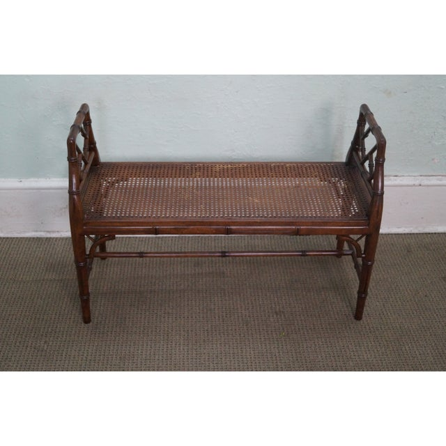 Chinese Chippendale style faux bamboo cane seat window bench. Approximately 40 years old and American-made. Chippendale...
