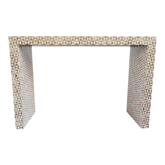 Inlay Modern Geometric Console For Sale