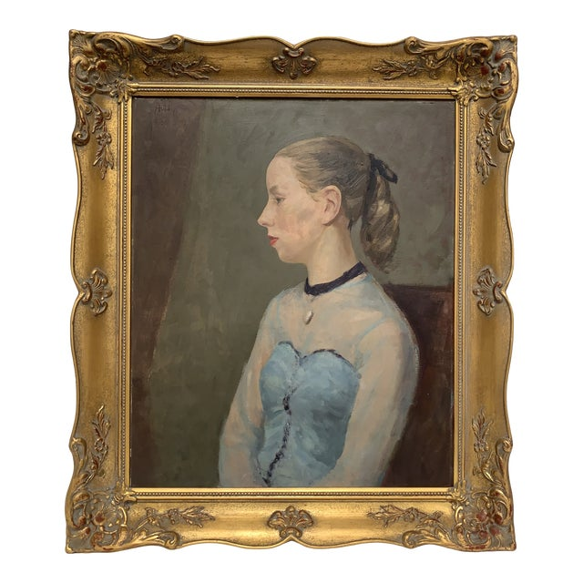Vintage Portrait of a Young Woman Original Oil Painting in Ornate Giltwood Frame For Sale
