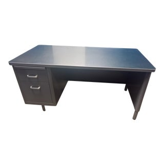 1960s Mid Century Modern Gray Steel Frame Tanker Desk For Sale