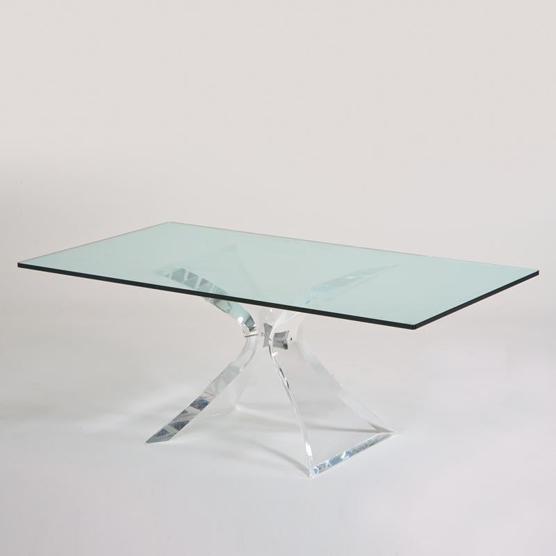 Leon Frost Lion in Frost Lucite Coffee Table Base Chairish