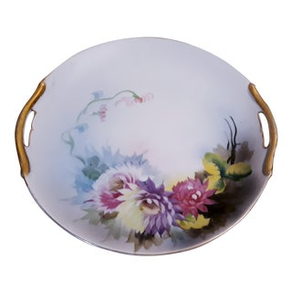 Noritake Gold Rim Floral Handled Cake Plate For Sale