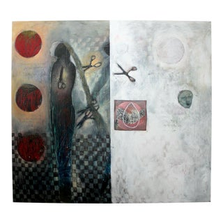 Contemporary Cindy Kane Texture Acrylic Canvas Painting Checkered Past 1990s For Sale
