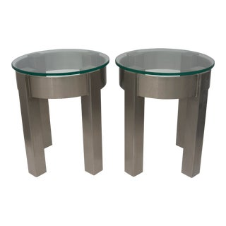 Round Stainless Steel Side Tables - a Pair