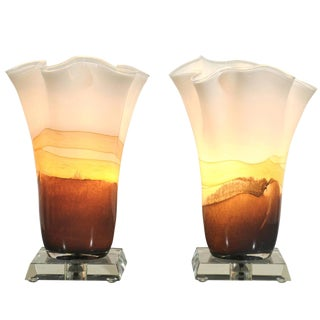 Incredible Pair of Blown Glass Table Torchieres in Cream and Caramel For Sale