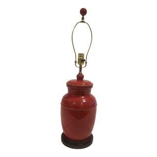 Vintage Washed Red Glazed Ginger Jar Lamp For Sale