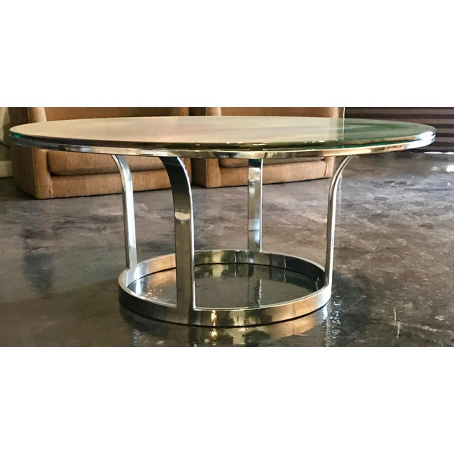 Modern Designer Hand Painted Epoxy Resin on Glass Chrome Accent Table For Sale - Image 3 of 6