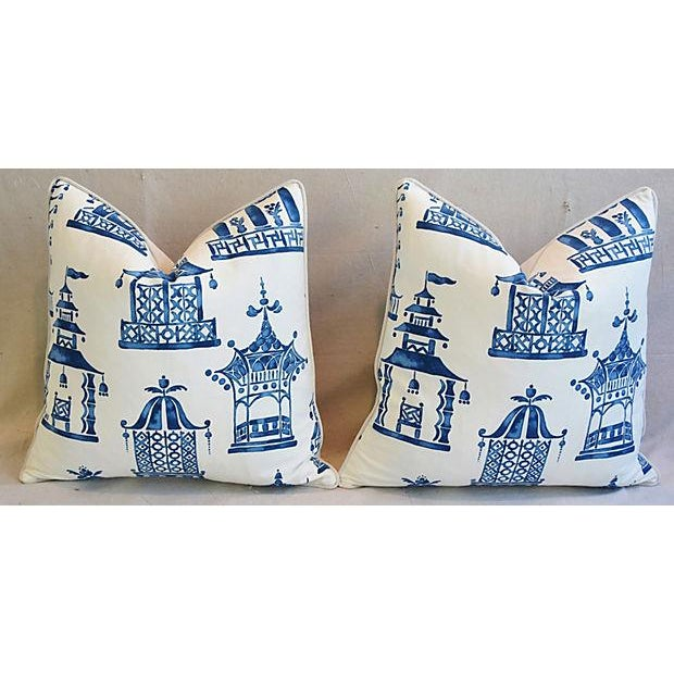 "Blue & White Chinoiserie Pagoda Feather/Down Pillows 24"" Square - Pair For Sale - Image 4 of 11"