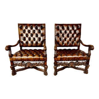 Pair of 19th C. Italian Leather Tufted Carved Armchairs For Sale