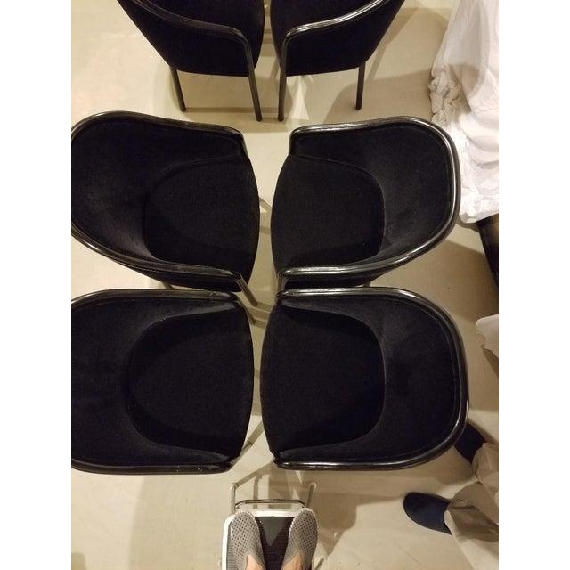 Ward Bennett 1980s Vintage Ward Bennett for Brickel Associates Walnut & Velvet Mohair Chairs - Set of 10 For Sale - Image 4 of 13
